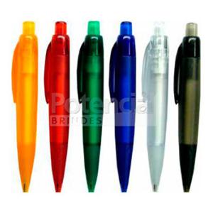 potencial-brindes - Caneta de plástico em várias cores personalizadas.