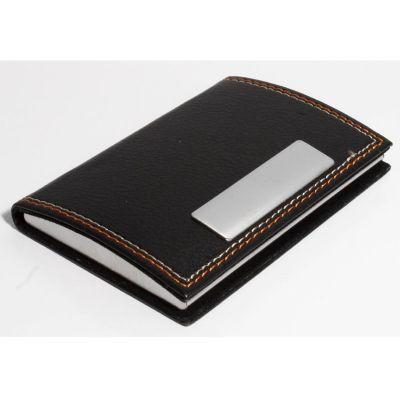 Potencial Brindes - Porta cartão em metal com revestimento externo em couro sintético.