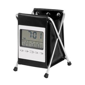 potencial-brindes - Relógio digital de mesa com porta-caneta, calendário e termômetro.