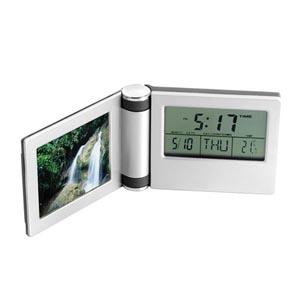 Potencial Brindes - Relógio digital de mesa com porta-retrato e calendário.