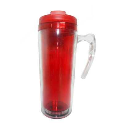 Mug com alça Transparente interno Vermelho