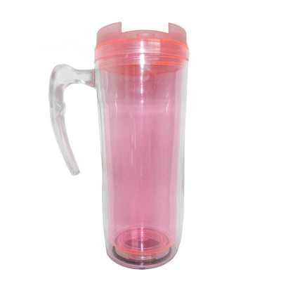 Mug com alça Transparente interno Rosa