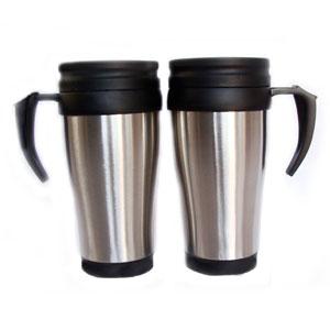 Mugmania - Caneca térmica com capacidade para 400 ml, revestimento externo em aço inox.