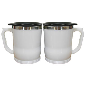 Mugmania - Mug térmico com capacidade para 350 ml, revestimento externo em plástico pp e interno em aço inox, tampa em plastico preto com fecho giratório e fundo...