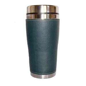 mugmania - Mug térmico com capacidade para 450 ml, revestimento externo em couro.