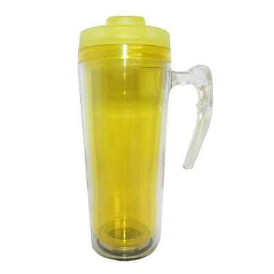 Mug com Alça Transparente interno Amarelo