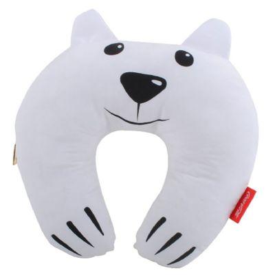 Almofada de pesco�o em formato de urso medindo 37 cm de comprimento e 37 cm de altura , enchimento em fibra de poli�ster , toda costurada com linha de...
