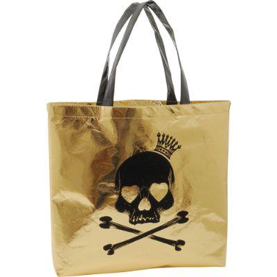 Sacola de compras confeccionada em TNT laminado, duas al�as de ombro feitas no mesmo tecido da sacola, toda costurada em linha de nylon n�60