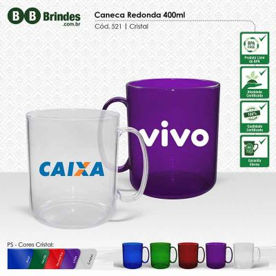 BB Grupo - Caneca redonda cristal color 300 ml