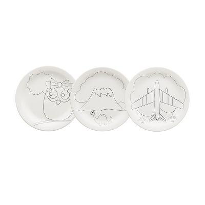 Oxford - 3 pratos com decorações diferentes: Dino, Aviãozinho e Corujinha.