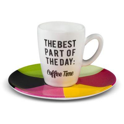 Oxford - Xícara de café expresso de 75ml, decoração Coffee Time, com pires 12cm