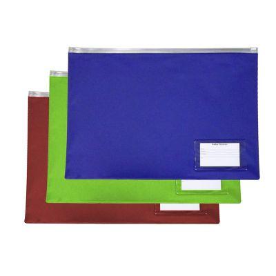 diport - Pasta personalizada zip-zap em PVC transparente ou colorido, espessura 0,20 mm tamanho 28 x 38 cm, gravação em silk-screen. (Porta cartão opcional).