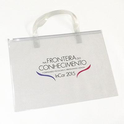 DiPort - Pasta zip zap com alça de PVC transparente ou colorido, espessura 0,20mm tamanho 26x36cm, gravação uma cor.