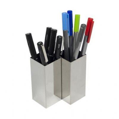 diport - Porta canetas duplo personalizado a laser, confeccionado em aço inox