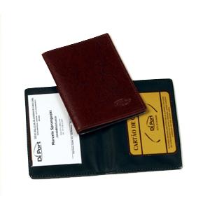 diport - Porta documento personalizado em couro sintético, com logomarca em baixo relevo.