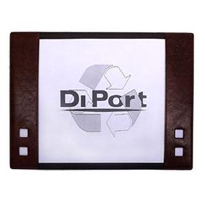 diport - Risque-rabisque personalizado para folhas tamanho A4, em couro sintético, com 12 folhas brancas, com personalização da logomarca em baixo relevo.