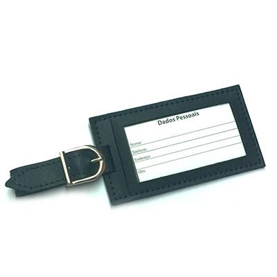 Tag de mala confeccionada de couro sintético