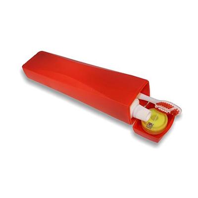 Dwin Soluções Promocionais - Kit de higiene bucal, Estojo plástico formato que cabe 1 escova de dente, 1 creme e 1 fio dental