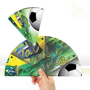 Leque dobrável com temas da copa do mundo
