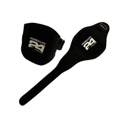 agp-brindes - Braçadeira personalizada porta iphone, confeccionada em neoprene, com acabamento em viés de poliéster e fechamento ajustável.