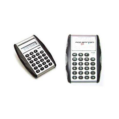 agp-brindes - Calculadora de bolso personalizada com tampa acoplada, borracha anti derrapante nas laterais que se ajustam nas mãos. Dimensões fechada: 9,5 x 7,5 x...