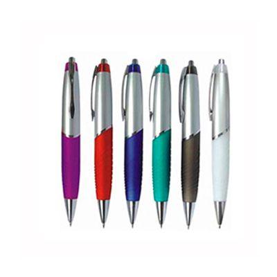 AGP Brindes - Caneta esferográfica personalizada, confeccionada em plástico, com acionamento por clique, em cores variadas.