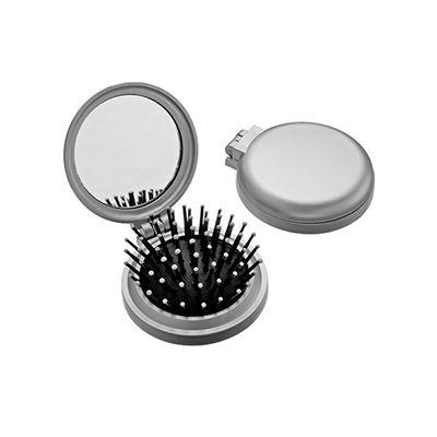 Escova retrátil personalizada com espelho de bolsa redondo, confeccionado em plástico resistente - AGP Brindes