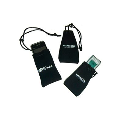 agp-brindes - Porta celular personalizado, confeccionado em neoprene em diversos modelos e cores, com cordão de nylon para fechamento