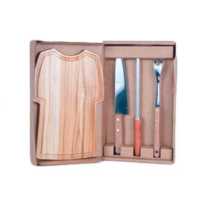 Arte Perotto - Kit personalizado para churrasco, composto por uma tábua em madeira nobre Teca em formato de camisa, medindo 32,0 x 20,0 x 1,2 cm, garfo trinchante, f...