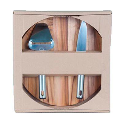 Kit personalizado para frios, composto por tábua de madeira nobre Teca, medindo 27,0 x 1,2 cm, faca e plaina; ambos em aço inox com detalhes em preto... - Arte Perotto