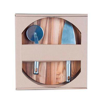 - Kit personalizado para pizza, composto por tábua de madeira nobre Teca, medindo  27,0 x 1,2 cm, espátula e cortador de pizza; ambos em aço inox com de...