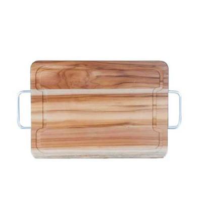 Tábua em madeira nobre Teca, medindo 32,0 x 23,0 x 1,7cm + alças laterais em alumínio.