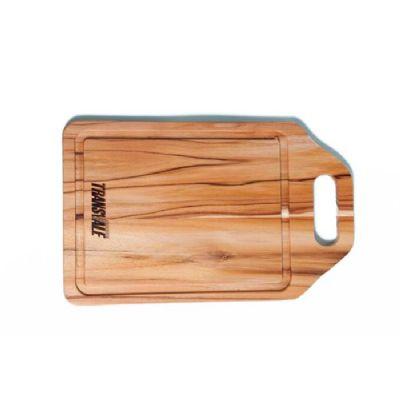 Tábua para corte personalizada, confeccionada em madeira nobre Teca com alça que facilita o uso. Medidas: 32,0 x 20,0 x 1,2 cm. Facilite o dia a dia d... - Arte Perotto