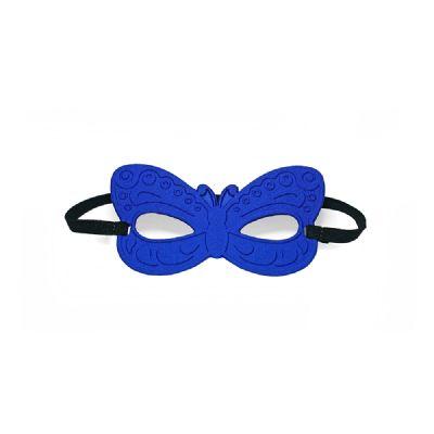 Máscara de borboleta termomoldada promocional com revestimento interno e externo em poliéster. Ajuste com elástico. Dimensões: 150 x 85 x 3 mm - JOMO