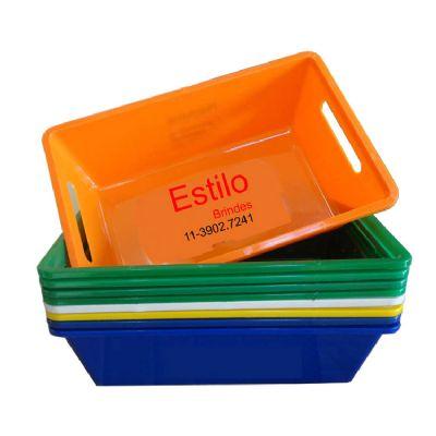Cesta plástica em diversas cores - Estilo Brindes