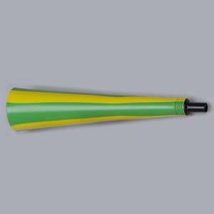 Estilo Brindes - Corneta Personalizada - cores verde com amarela - Medida 40 cm de comprimento. Gravação em 1 cor silk ou tampografia.