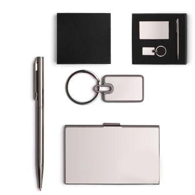 Creative Design - Conjunto com 3 peças em metal: porta-cartões, chaveiro e caneta esferográfica.