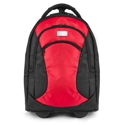 Creative Design - Mochila de Poliéster com rodas. Interior em Ripstop 210T. Possui 2 bolsos frontais com zíper.