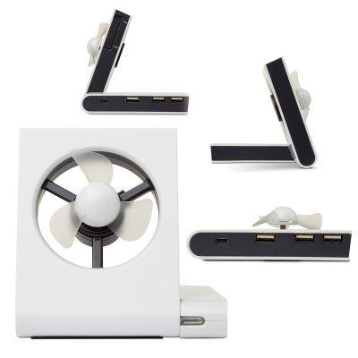 "Creative Design - Ventilador de Mesa Modelo ""USB"" com HUB de 3 portas - Fechado 100 x 100 mm."