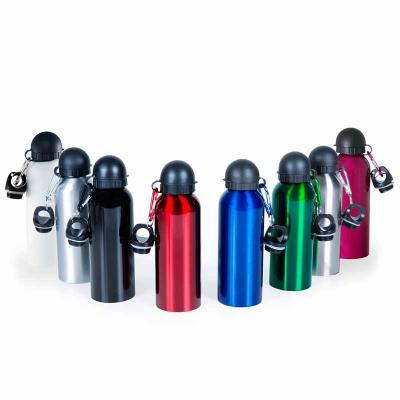- Squeeze alumínio personalizado, capacidade 500 ml. Possui tampa com trava. Ideal para ação promocional.