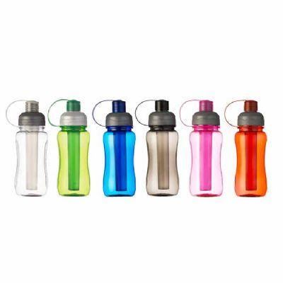 Liga Promocional - Squeeze Ice Bar de plástico personalizados 400 ml, contendo parte interna removível para resfriamento. Detalhes no corpo e na tampa.