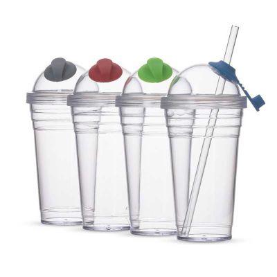 Liga Promocional - Copo plástico 480ml com tampa e canudo personalizado