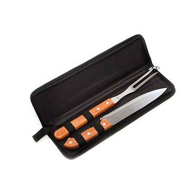 Liga Promocional - Kit churrasco personalizado com 2 peças e um estojo.