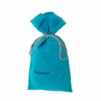 Embalabrindes - Saquinho de veludo azul claro com barra dupla e cordão de nylon.  Tamanho: Personalização de acordo com a necessidade do cliente. Acabamento de impres...