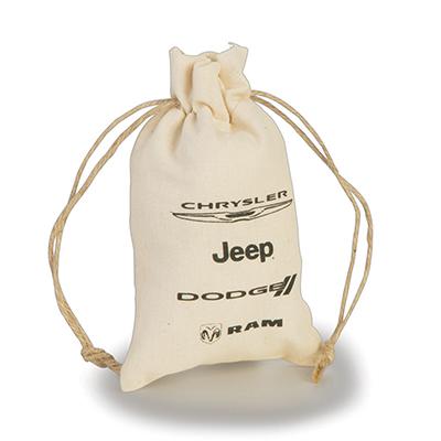 embalabrindes - Embalagem de algodão cru com fechamento em cordão.