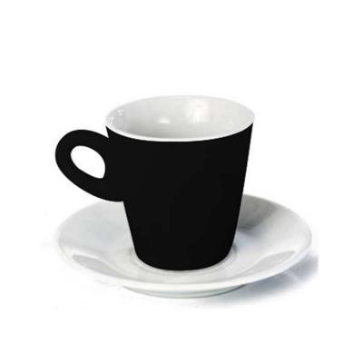d-kore-porcelanas - Xícara de Café com Pires Cônica 80ml Bicolor Preta