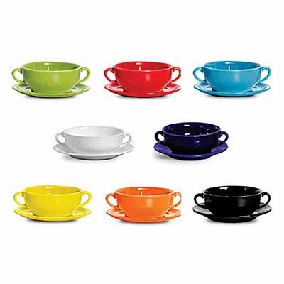 D.Kore Porcelanas - Consumê com Pires, cores variadas