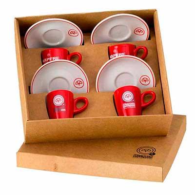 D.Kore Porcelanas - Kit Personalizado em Caixa Craft Com Berço - Contendo 04 Xícaras de com Pires Genova - Bicolor.