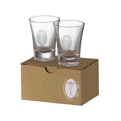 D.Kore Porcelanas - Kit Personalizado em Caixa Microondulada - Contendo 02 Copos Dose Olé - 60 ml.
