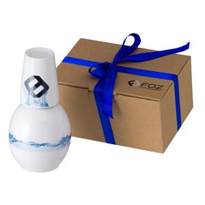 d-kore-porcelanas - Moringa Bojuda Personalizada - 1 Litro com Copo em Caixa Craft com Fita de Cetim.